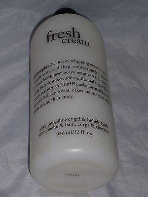 New! Philosophy Fresh Cream Shampoo, Shower Gel & Bubble Bath 32 fl. oz (946 ml)