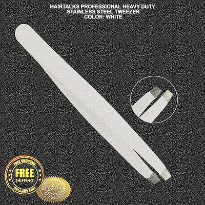 HAIRTALKS Stainless Steel EyeBrow White Tweezer Plucker/Puller Slanted Tip NEW
