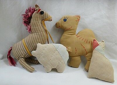Vintage Hand Made CLOTH Stuffed Animals 1940's Camel, Zebra, Quilted Pig, Cat