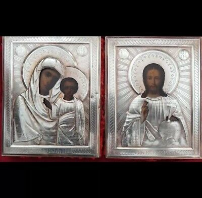 IKONWORLD: WEDDINGS PAIR OF RUSSIAN 84 SILVER 19c RUSSIAN SILVER ICONS