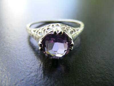 S4 Sterling Silver Antique  Filigree Ring With 1 carat Natural Amethyst Gemstone