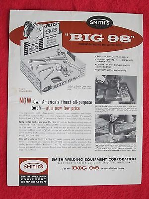 VINTAGE 1950's SMITH WELDING EQUIPMENT BIG 98 WELDING & CUTTING OUTFIT BROCHURE