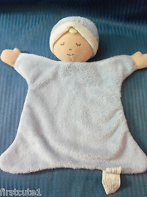 """Rosy Cheeks Blue Baby Cozies  Infant Baby Lovey  Blanket  9"""" x 10"""""""