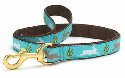 UP COUNTRY Ribbon & Webbing Dog Leads. RUNNING HARE.  4 or 6 foot long.