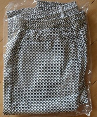 Angelica Chef Pants Black and White Checkered Pattern Checkerboard Unhemmed