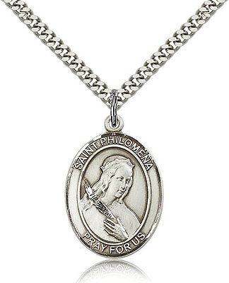 """Saint Philomena Medal For Men - .925 Sterling Silver Necklace On 24"""" Chain - ..."""