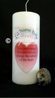 Personalised Pet Loss Memorial Remembrance Absence Candle Heart & Paws (med)