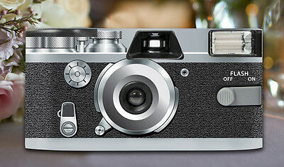 2 x Retro Silver Disposable Wedding Cameras 27exp, flash & matching table cards