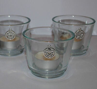1 x Pentagram Candle Holder PROTECTION CLEANSED & BLESSED Altar & Spell Casting