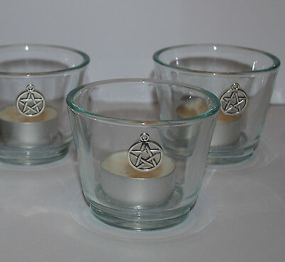 Pentagram Candle Holder PROTECTION CLEANSED & BLESSED Altar Spell Casting Ritual