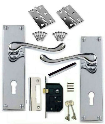 Polished Chrome Scroll Victorian Lever Lock Door Handles + 64mm 2 Lever + Hinges