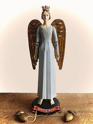 "FREE Crown w/ 20"" Heavenly Blue SANTOS Tin Skirt Angel (+Removable 'Gold' Wings)"