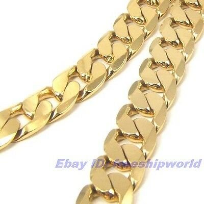 """3pcs Wholesale 23.4""""12mm100g REAL MEN 18K GOLD GP CURB NECKLACE SOLID GEP CHAIN"""
