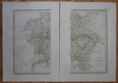 #VIVIEN: Large Decorative Map of Germany on 2 Sheets - 1825
