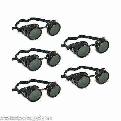 Black Steampunk Welding Cup Goggles - 5 Pack