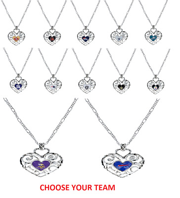 NFL Football Team Logo Womens Ladies Ivy Heart Pendant Pick Your Team