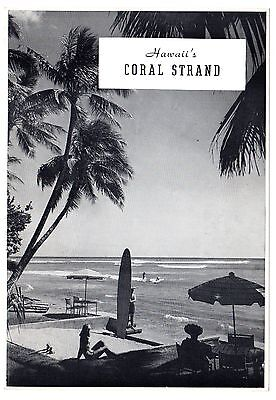 Hawaii Surfing Postcard 1930's Vintage Coral Strand Hotel Out of Print EXC RARE