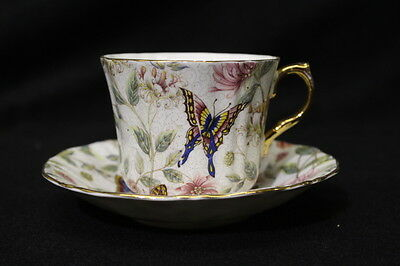 VINTAGE Old Royal Bone China Teacup & Saucer Butterfly Chintz England