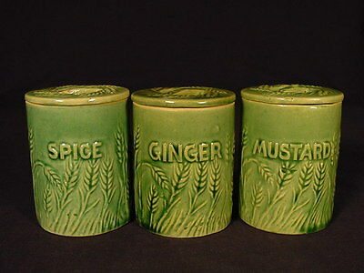 RARE HULL SPICE JAR with LID GREEN GLAZE YELLOW WARE