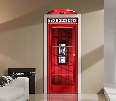 Red English Phone Booth Door or Wall Vinyl Repositionable Decal Sticker Graphic