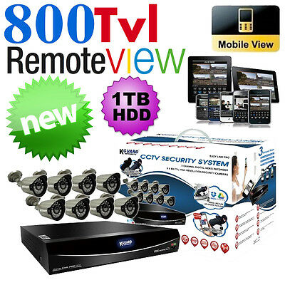 KGUARD DVR16 16-CH CCTV 1TB & 8x800TVL Camera Surveillance Security System Swann