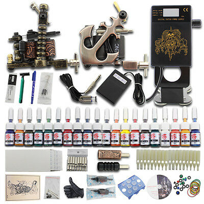 Kit Completi Tatuaggi 2  Tattoo Macchinette Machine 20 Color Power Supply DJ25