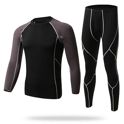 Mens Fleece Lined Cycling Base Layer Under Skin Shirt+Pants Athletic Sportswear
