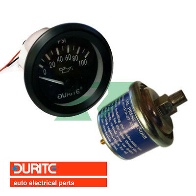 Durite 12V 52mm Oil Pressure Marine Dashboard Gauge with Sender  - 0-523-16