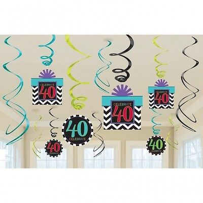 Celebrate 40Th Happy Birthday  Party Swirls Hanging Decoration Pack Of 12