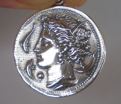 Artemis Large Silver Coin Pendant - Syracuse Coin - Diana