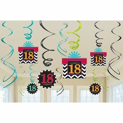 Celebrate 18Th Happy Birthday  Party Swirls Hanging Decoration Pack Of 12
