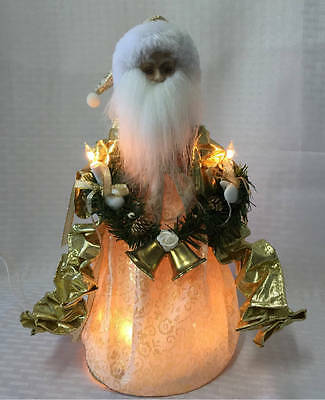 VINTAGE Gold Lighted SANTA CLAUSE Tree Topper Porcelain Face Hands Holding Ribbo