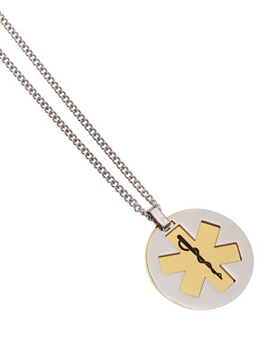 Stainless Steel Brass Pivot Pendant Medical ID Necklace Alert Jewellery Mediband