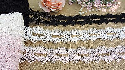 """2""""*1Y Beautiful Venise Lace Trim~Pure Black/Warm Ivory/Baby Pink~Sweet Daisy~"""