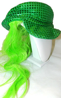 St. Patrick's Day Green Baseball Hat with  Green Wig Irish Party Costume 7209