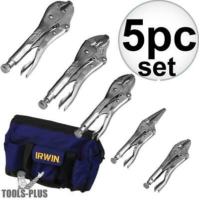 Irwin Vise Grip 5 pc Locking Plier Set w/ Nylon Tool Bag 2077704 New
