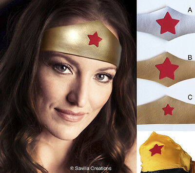 Wonder Woman Tiara Headband. 5 styles. Handmade in USA. Faux leather one size