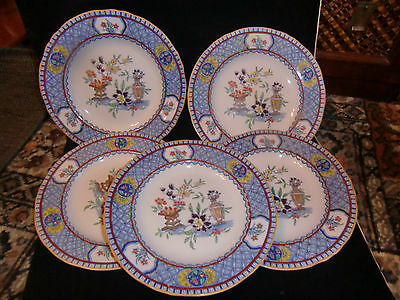 Five  early 20th Century Mintons 23cm diameter Plates Japanese Style Decoration