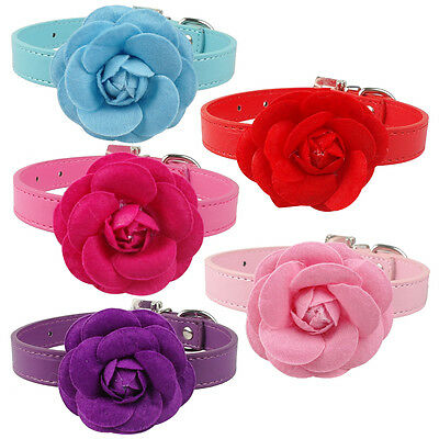 5 Colors 4 Sizes PU Leather Durable Dog Pet Collars With Beautiful flower