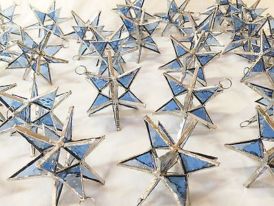 Lot of 25 !!  Stained Glass Moravian STARS Iridescent TURQUOISE ! Handmade!