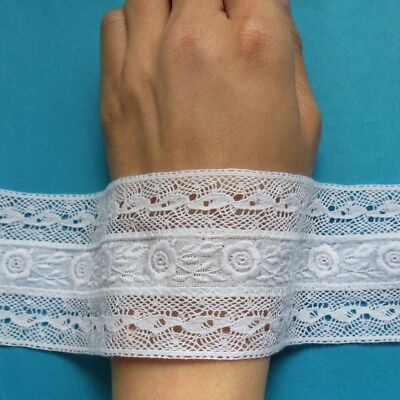 """2-1/4"""" Exquisite White Venise + Embroidered Flower Cotton Lace Trim-1 Yard -T876"""