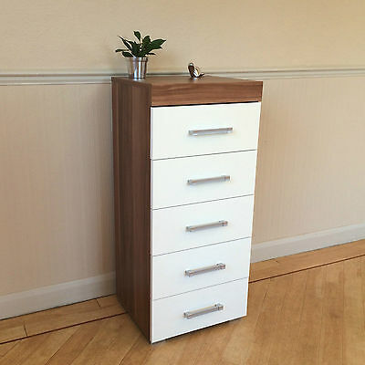 White & Walnut Tall Boy Chest of 5 Drawers Bedroom Furniture - Narrow Slim Draw