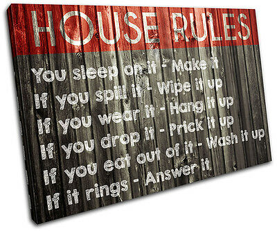 Family House Rules Typography SINGLE CANVAS WALL ART Picture Print VA