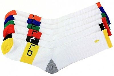 Polo Ralph Lauren Men's 6-Pack Sport Crew Socks Sz. 10-13; Fits 6-12.5