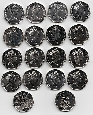 UK Fifty Pence Coins 50p 1982 to 1999 Choose your Year - Brillant Uncirculated