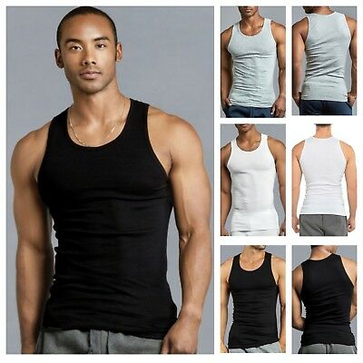 619a74f5042e05 3 6 MENS Black Tank Top 100% Cotton A-Shirt Wife Beater Ribbed Pack ...