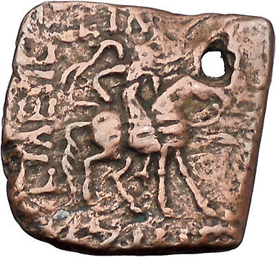 AZILISES 85BC INDO SKYTHIAN King on Horse Bull Ancient Greek Coin India i47047