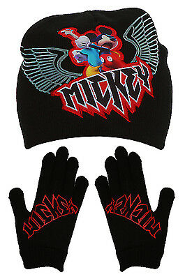 Youth Mickey Mouse Rock Star Beanie and Gloves Combo, Black