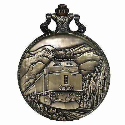 Retro Antique Train Pattern Analog Quartz Bronze Pocket Watch Necklace Pendant