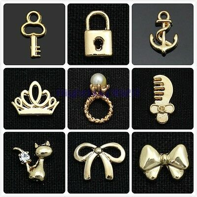 10/50X Metal Gold Alloy Designs 3D Nail Art Tips Phone Manicure Decors Jewelry